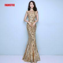FADISTEE Neue ankunft elegante party kleid abendkleider prom bling pailletten meerjungfrau gold schärpen lange kurzen ärmeln einfache stil