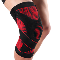 Kuangmi Compression Knee Sleeve Support Sports Silicone Knee Pads Basketball Adjustable Bandage Spring Brace Patella Protector