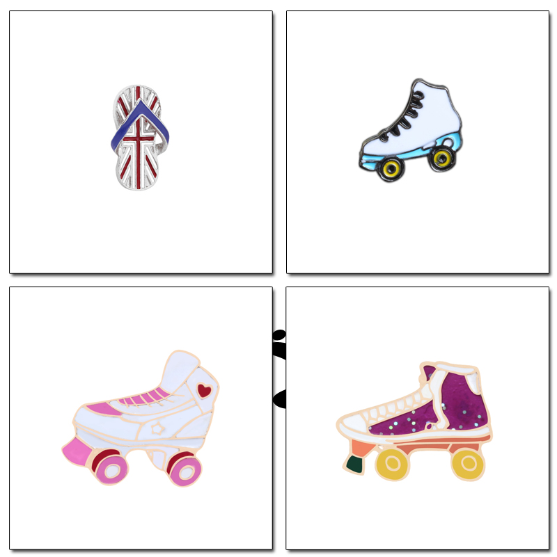 Apparel Sewing & Fabric Badges Hard-Working Roller Skates Lapel Pin Badges For Clothes Skating Shoes Rozety Papierowe Icon Backpack 1pcs Xy0326
