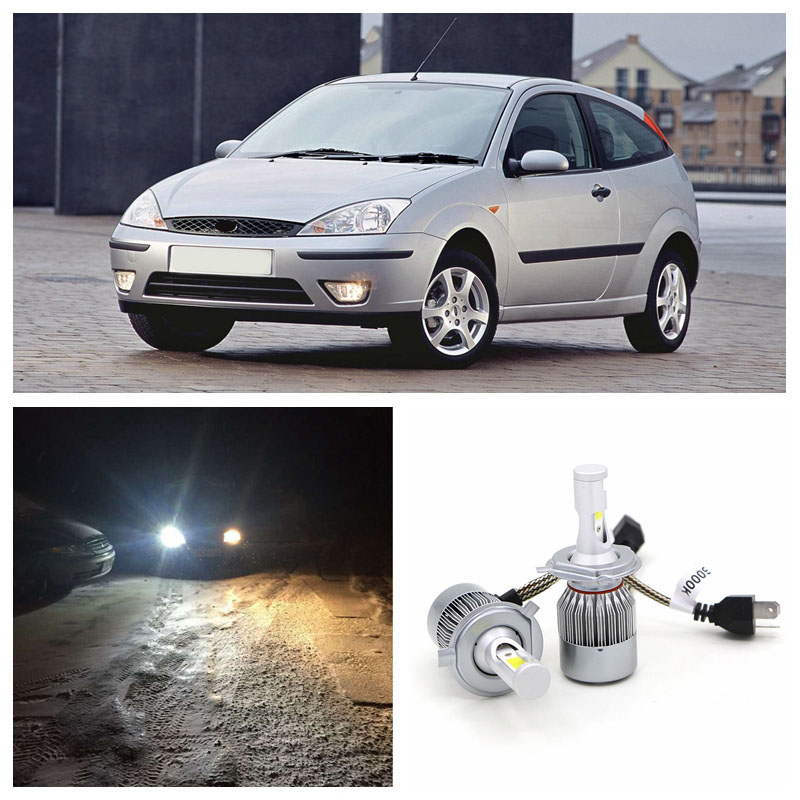 Edislight High Power 72W 7600LM H4 LED Headlight High Low Hi Lo Beam Light For 2000-2004 Ford Focus White Car Bulbs Headlamp