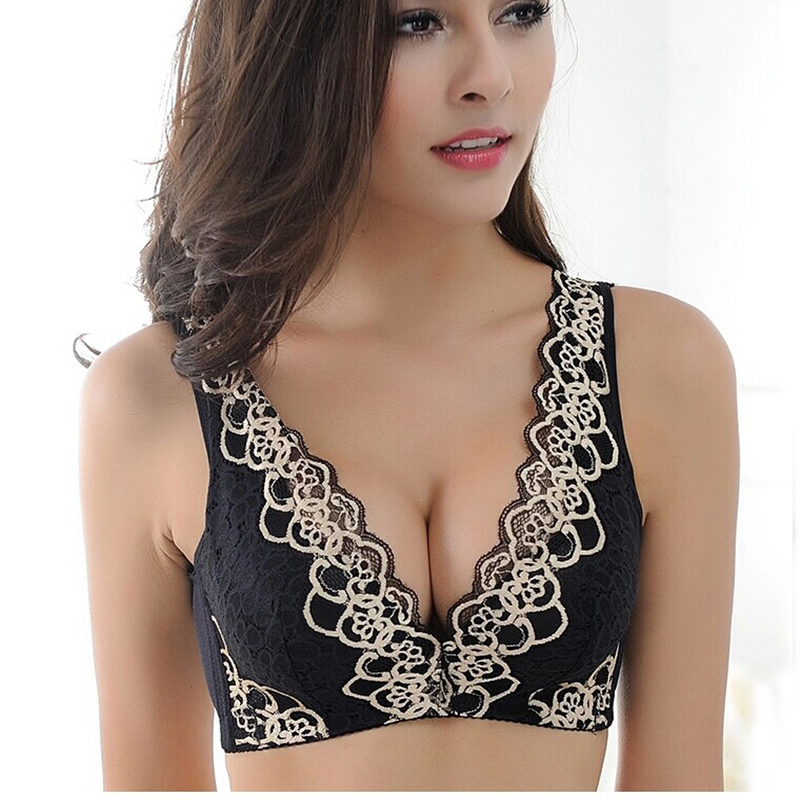 2018 underwear Womens Bras Embroidery Flowers wireless Solid sleeping lace brassiere push up bra female sexy lace bra full cup