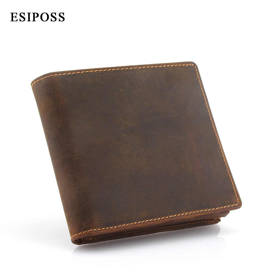 ESIPOSS Genuine Leather Wallet Men Purse Cowhide Wallets Vintage Quality Crazy Horse Leather Wallet Carteira Masculina Designer