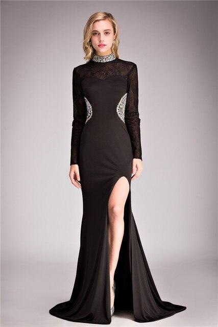 Zwarte jurk met hoge split