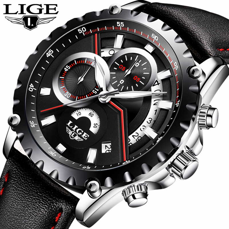 New LIGE luxury brand watch men fashion casual sport quartz wristwatch leather waterproof men;s watches clock Relogios Masculino трикси миска керамическая кошка 0 25 л ф 13 см белая