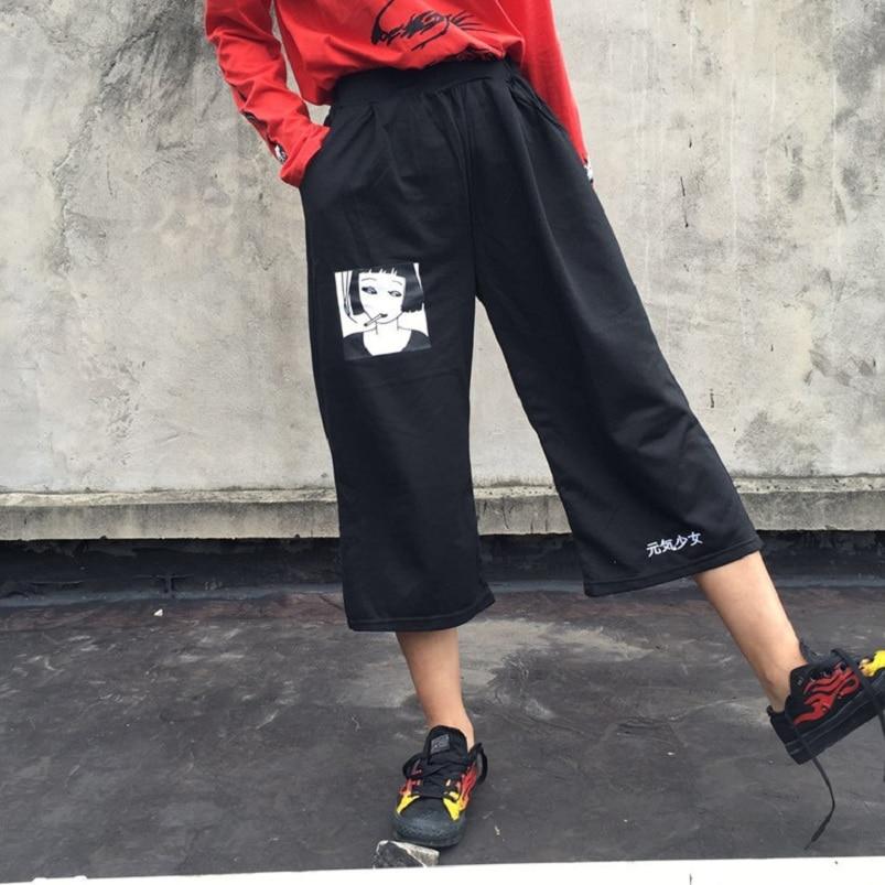 2018 Femmes Harajuku Coréenne Fille Lâche Mince Balun Impression Pantalon Femelle Sauvage Occasionnel Mignon Japonais Kawaii Pantalon Pour Les Femmes