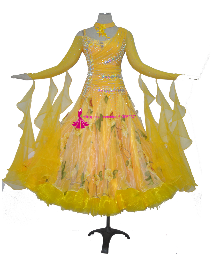 Standard Ballroom Dance Dress Adult High Quality Yellow Color Flamenco Modern Waltz Ballroom Competition Dancing Dresses