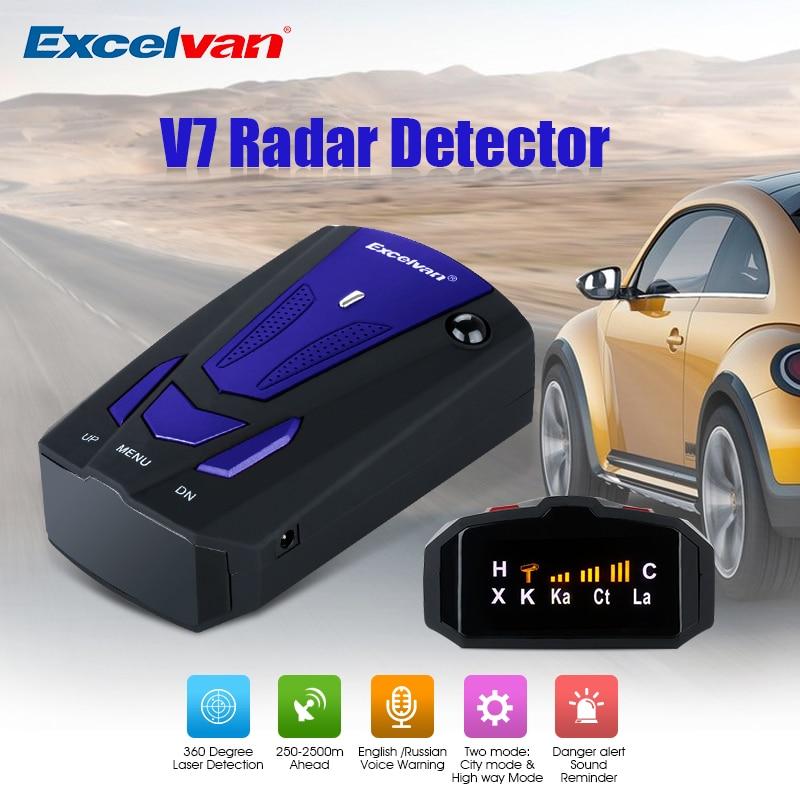 Excelvan 360 Градусов Автомобиль Полное 16 Группа v7 синий Скорость Детская безопасность Антирадары сканирования передовые голосовые оповещения Лазерная LED
