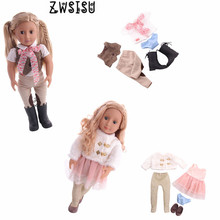 цена Doll 18 Inch American DIY 1 Set=Free 1Pcs Doll+1 Suit Clothes+Shoes+Underwear For 18 Inch American Doll & 43 Cm Born Doll Toy онлайн в 2017 году