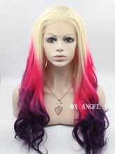 Fashion New White Root  To Red Purple Wavy Stylish Synthetic Lace Front Wig Heat Resistant Hair Kanekalon Women Wigs.