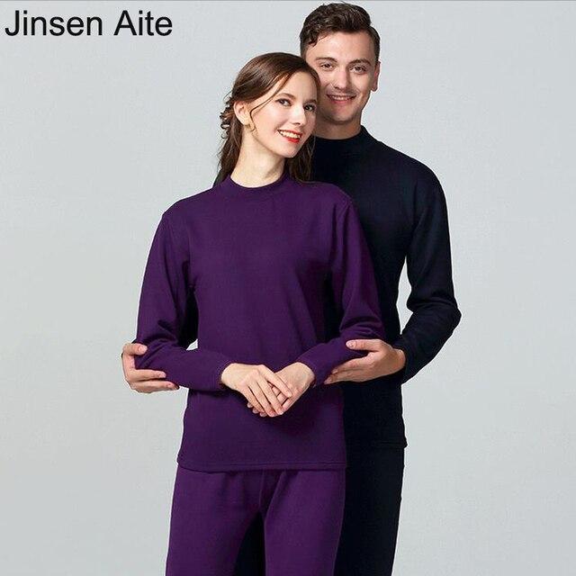 Jinsen Aite 2018 Winter Couple Thermal Underwear O-Neck Cotton Pijama Set Women Large Size Thicken Fleece Warm Long Johns JS659