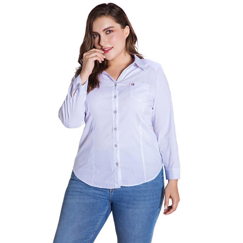 LALAIKAI Plus Size XL 2XL 3XL 4XL 5XL 6XL White Solid Blouse Women Full Sleeve Button Tops Slim Office Ladies Shirt SWA1540-47 3