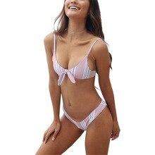Women Bikini High Waist Pink Bather Striped Swimsuit