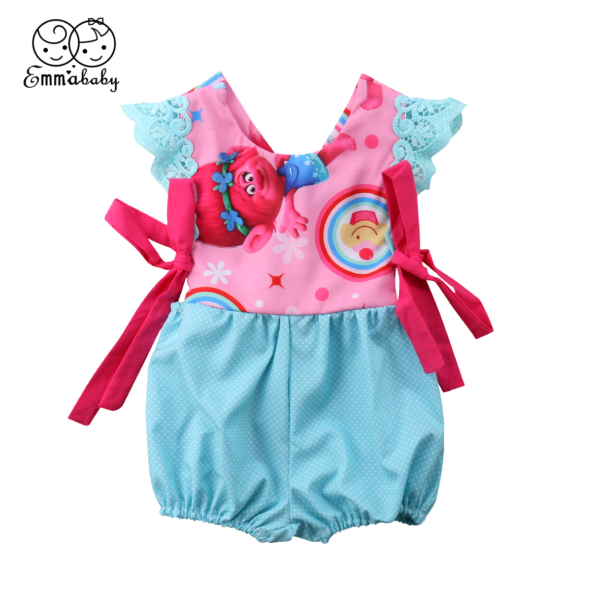 e94b1e6d219f Emmababy Newborn Baby Girl Trolls Print Fly Sleeve One Piece Bodysuit  Jumpsuit Outfits Clothes Set