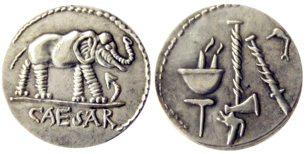 RM (01) ZELDZAME ROMEINSE ZILVEREN DENARIUS VAN JULIUS CAESAR