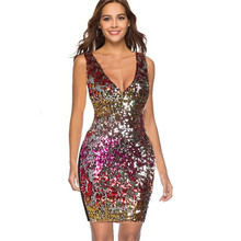 Colorful Sequin Party Club Dress Women Sexy A Line Mini Summer Cami Dresses Sleeveless Spaghetti Strap V Neck Hot Dress double v neck cami dress