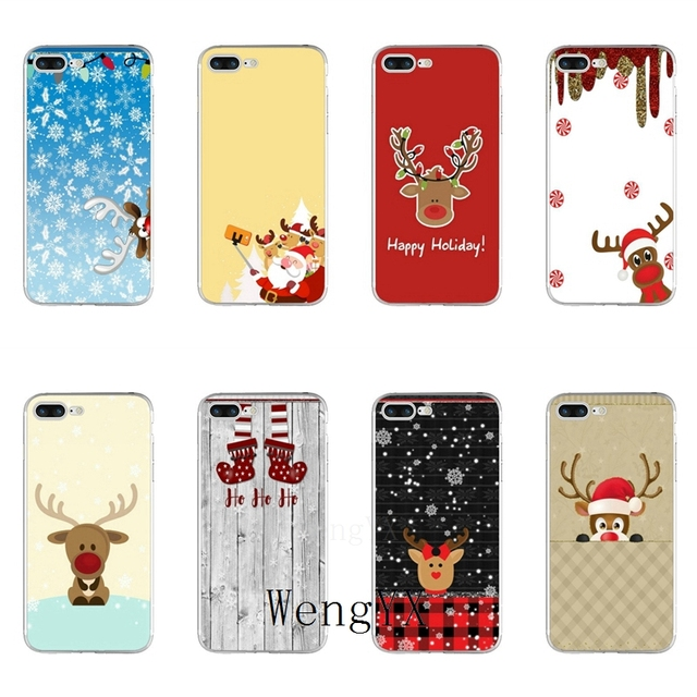 Vintage Christmas Tjn Reindeer Print Slim Silicone Soft Phone Case For IPhone X 8 8plus 7