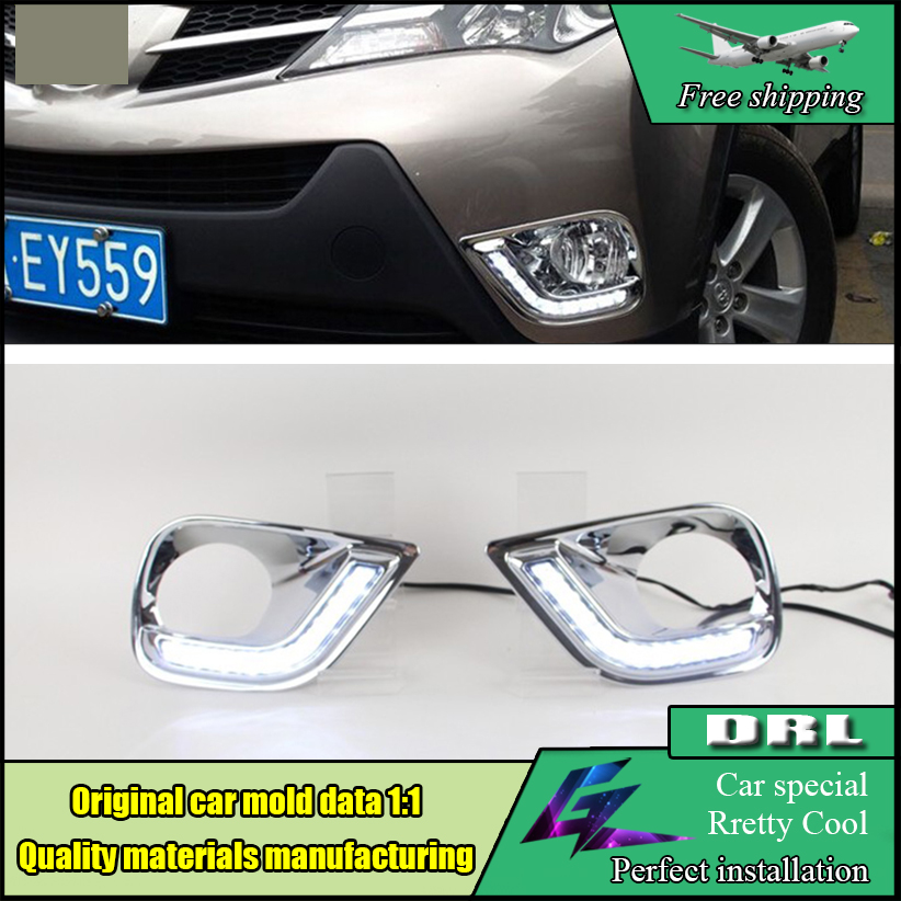 Car Styling LED DRL For Toyota RAV4 2013 2014 2015 LED DRL High brightness guide led fog lamp cover daytime running light for lexus rx gyl1 ggl15 agl10 450h awd 350 awd 2008 2013 car styling led fog lights high brightness fog lamps 1set