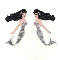 Sea Maid Silver Iron Sticker For Clothing Sequins Patches Sequined Applique Patches For Clothing Parches Bordados