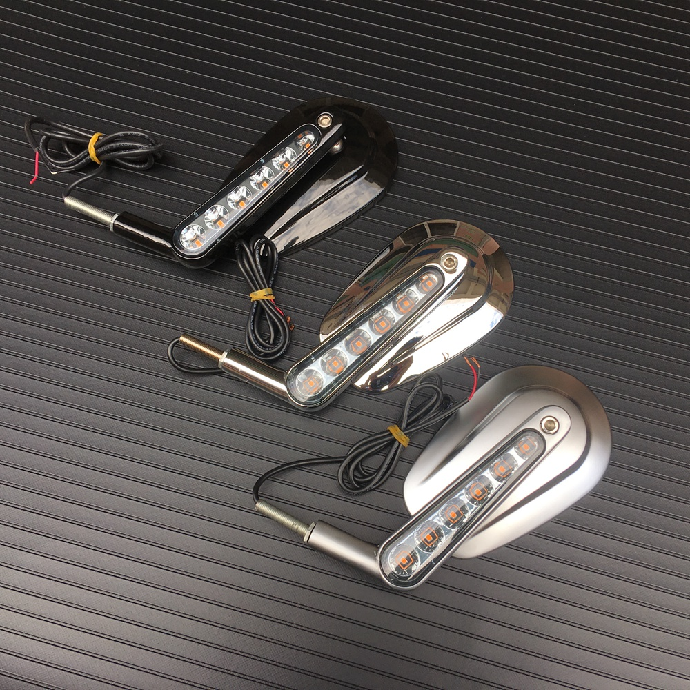 Pair Black Chrome Motorcycle Mirror Muscle LED Turn Signals Light Moto Rear side View mirrors case