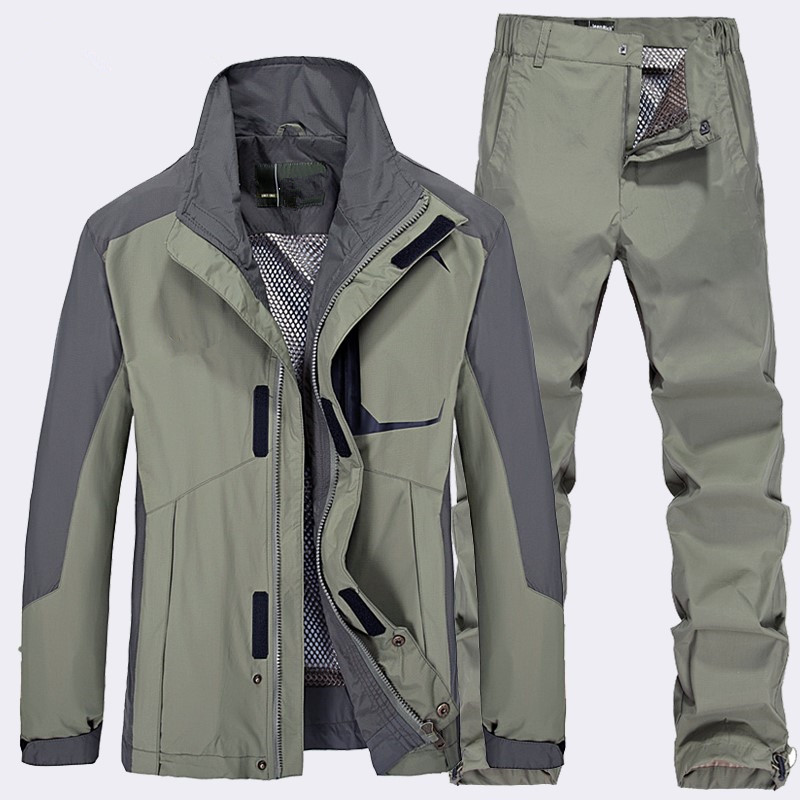 Фотография Men Spring Autumn Outdoor Camping Hiking Sports Fast Dry Jacket Pants Suit Men Waterproof Outwear Coat Touraers Two Piece Set