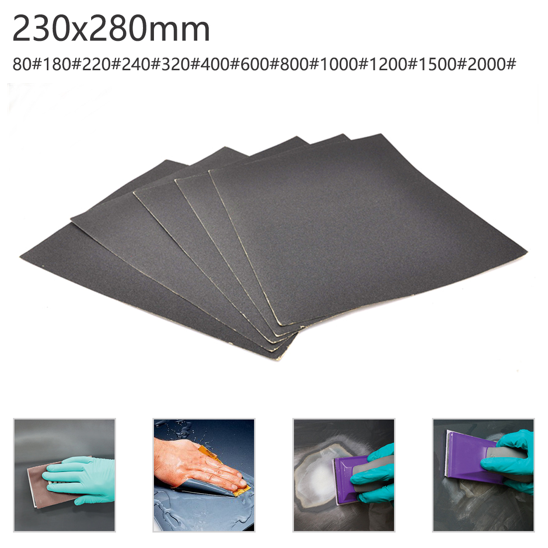 230*280mm Water-resistant Sandpaper Water-based Sandpaper 60-2000 Polishing Water Sand Woodworking Tools Dry Sandpaper