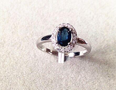 все цены на Natural dark blue sapphire gem Ring Natural gemstone Ring 925 sterling silver trendy elegant simple round women Office Jewelry онлайн
