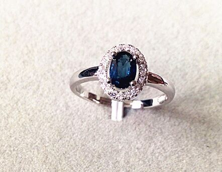 c90cbb46c3 Natural dark blue sapphire gem Ring Natural gemstone Ring 925 sterling  silver trendy elegant simple round