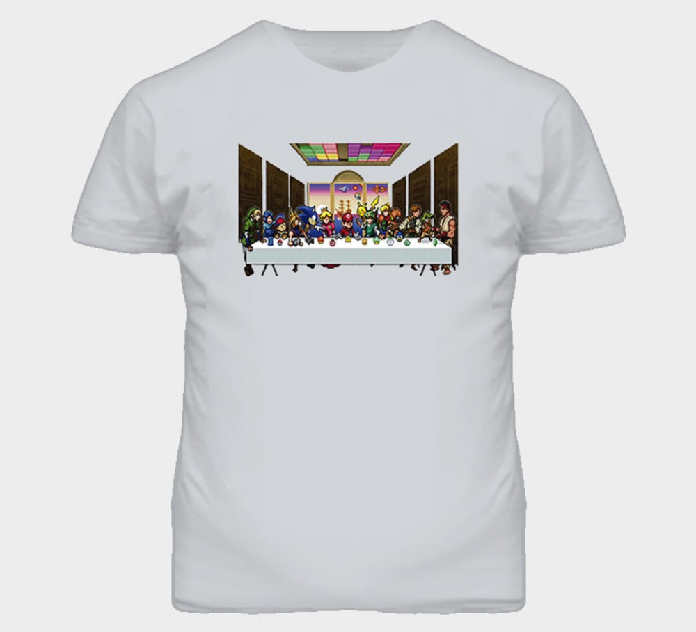 Colour Funny Printed The Heroes Last Supper Video Game Short Cotton Crew Neck Shirts For Men