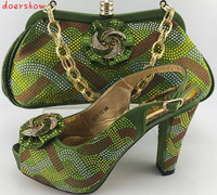 2017 Charming Italian Shoes With Matching Bags Rhinestones Green African Shoes And Bags Set For Wedding