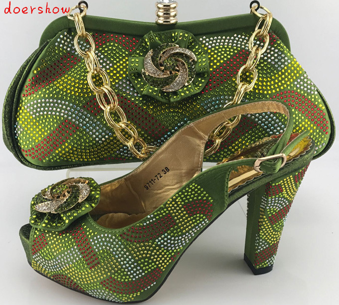 doershow Charming Italian Shoes With Matching Bags Rhinestones,green African Shoes And Bags Set for Wedding Size 38-42 PME1-22 doershow good looking italian shoes with