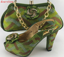 doershow Charming Italian Shoes With Matching Bags Rhinestones,green African Shoes And Bags Set for Wedding Size 38-42 PME1-22