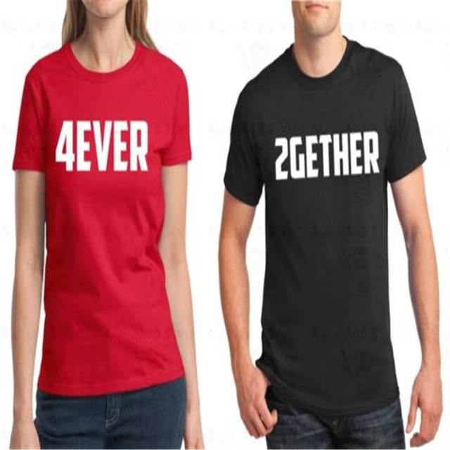 couple t shirt 2gether 4ever valentines day gift men and women tee shirt lover pink - Valentine Day Shirts