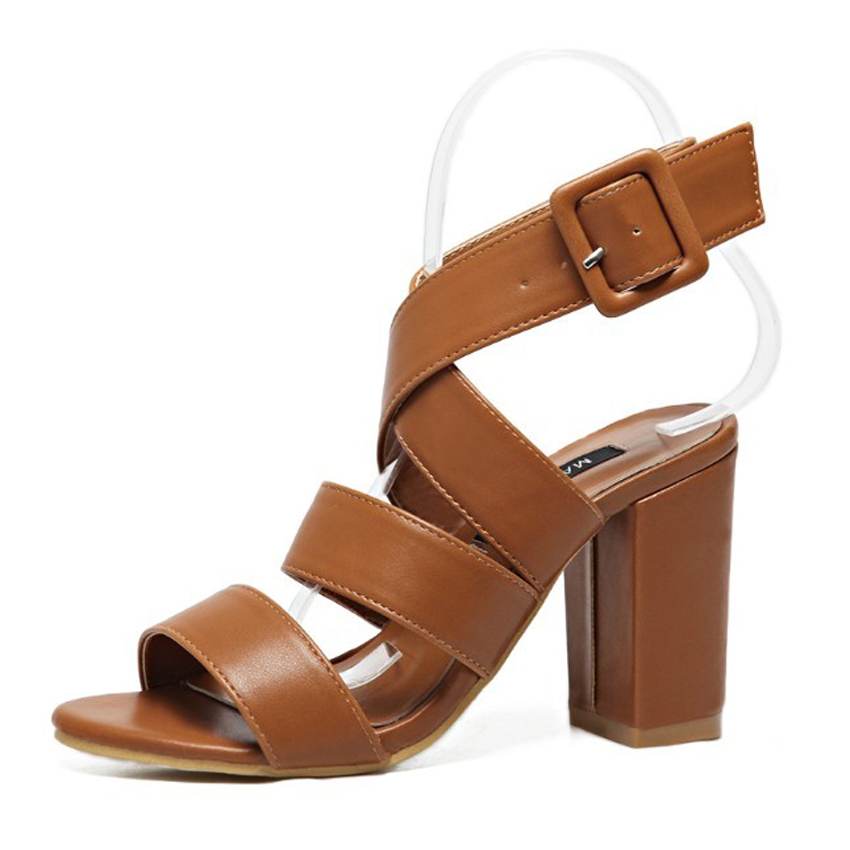 Casual Summer Women Strappy Cut Out Sandals Slingback Buckle Strap Gladiator Sandals Block Chunky Square High Heel Shoes Pumps xiaying smile summer new woman sandals platform women pumps buckle strap high square heel fashion casual flock lady women shoes