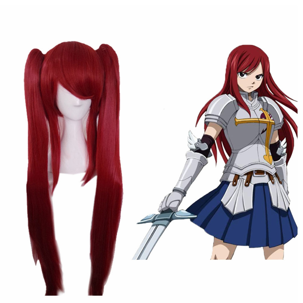 Erza Scarlet Hair Fairy Tail Erza Cosplay Anime Long Straight Red Cosplay hair With Bunches Cosplay Prop For Female Adult