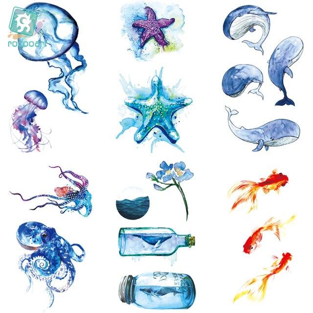 Rocooart RC464-475 новые доказательства воды временные татуировки наклейки мультфильм Coloful Ocean рыбы танца поддельные флэш-тати tatouage