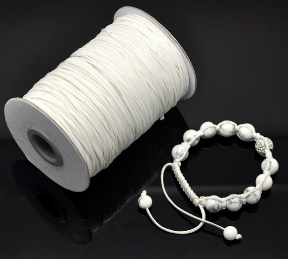 Free Shipping 1 Roll(180M) White Waxed Cotton Cord 1mm For Hand-woven Rope Bracelet/ Necklace Wholesale