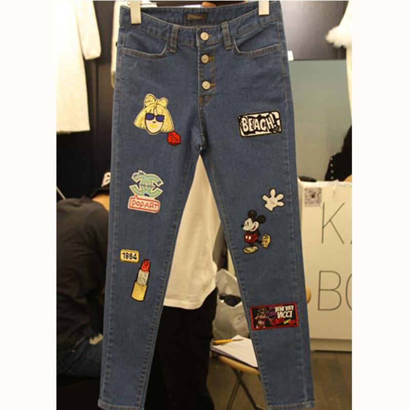 2016 East Gate summer new cartoon embroidery waist jeans all-match slim Korean student pencil pants