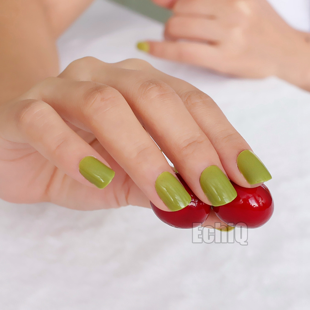 24pcs/kit Candy Olive Green Nail Tips Short Design Fake