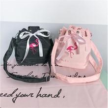 Bordado Fita Flamingo Balde de Ombro Bolsa De transporte Saco Para Fuji Instax Mini 25 50 7 S 8 90 SQ10 Instantânea câmera