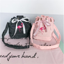 Embroidered Flamingo Ribbon Shoulder Carrying Case Bucket Bag For Fuji Instax Mini 9 CASE MINI 8 25 7S 90 SQ10 Instant Camera