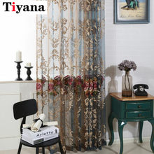 Modern Luxury Embroidered Flower Sheer Curtains Organza Fabric Window Curtains For Bedroom Living Room Window Blind P006Z4(China)