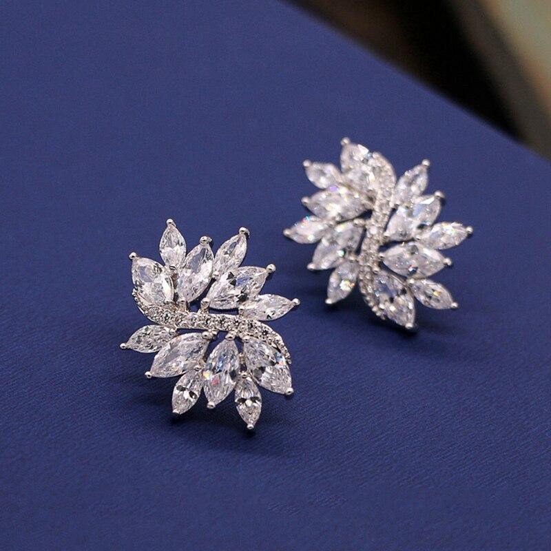 Zircon Retro Floral Crystal Stud Earrings Bridal Jewelry Rhinestones Trendy Wedding Girls Accessories Earrings For Women