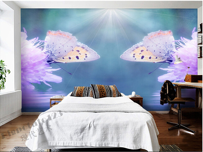 The  custom 3D murals, butterfly on the beautiful pink flowers , the living room sofa TV wall bedroom background wall paper the custom 3d murals the new york times center building street black and white living room sofa tv wall bedroom wall paper