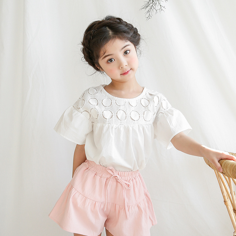 a792402cabf5 Cotton Summer Blouses For Girls Baby 2018 Princess White Blouse Girl  Teenage Short Sleeve Tops School Shirts Children Clothing