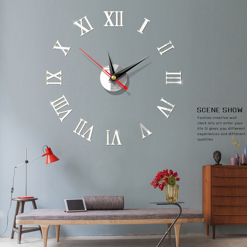 40cm 3D Creative DIY Wall Clock New High Quality Wall Stickers Fashion Living Room Clocks Home Decoration Acrylic Wall Clock