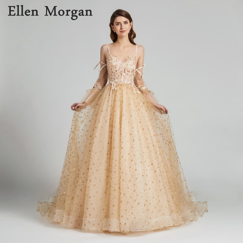 Sexy Gold Ball Gowns Prom Dresses 2019 for Women African Black Girls Straps with V Neck See Through Lace Glitter Star Tulle gown