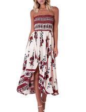 Yfashion Women's Sexy Off Shoulder Summer Dress Elastic Floral Printing Split Irregular Hem Maxi Dresses Dress Vestidos