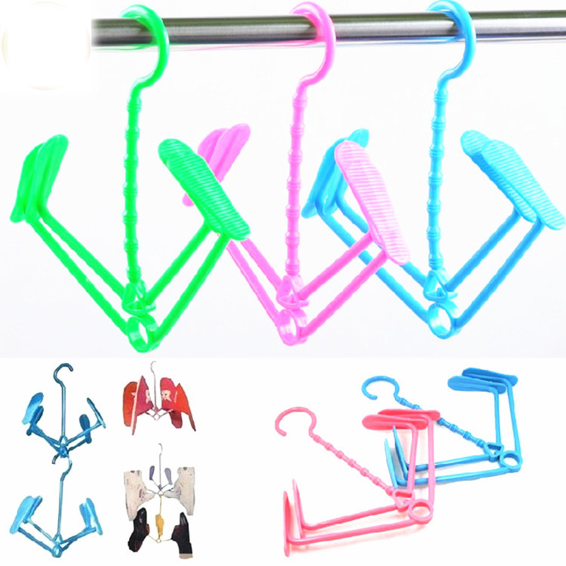 Hang Drying Air drying rack for shoes Shoe Rack Hangers Folding Random Color Clothes hanger Fine Creative Multifunction