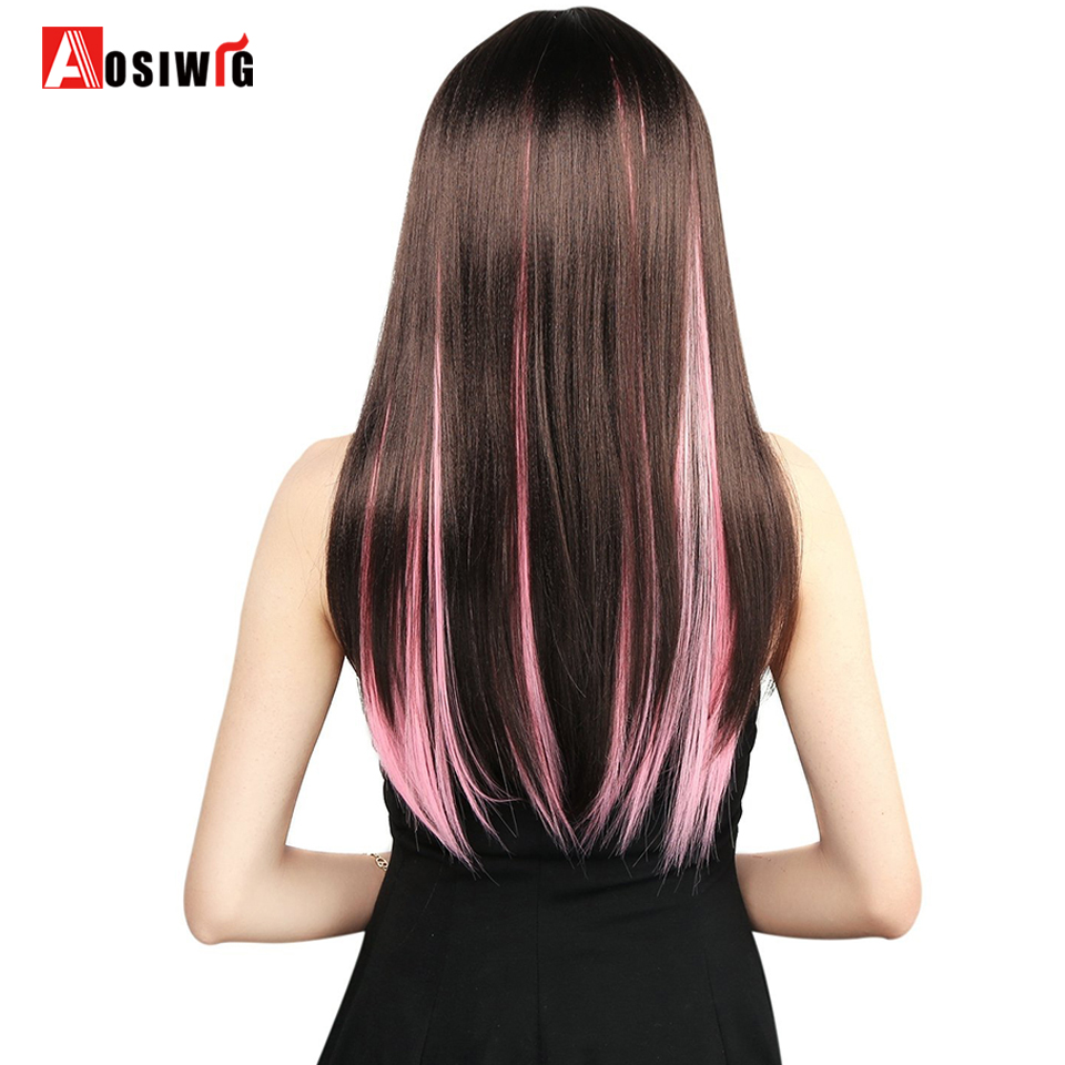 Hot Sale Aosiwig 1 Clip In Pure Color Hair Extensions Red Pink