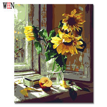 WEEN Digital Sunflower Pictures By Numbers Oil Painting On Canvas Home Decoration 40x50cm DIY Framed or Unframed 2017 New Gift(China)